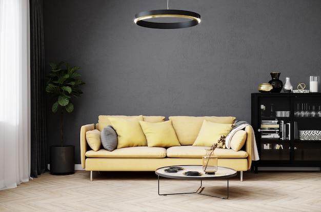 Nowoczesne tło wnętrza pokoju z białą ścianą i stylową żółtą sofą i designerskim stolikiem kawowym