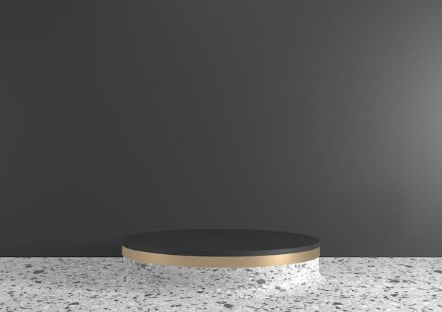 Nowoczesne tło z czarnego granitu i białe podium pokazują geometryczny produkt kosmetyczny. renderowanie 3d