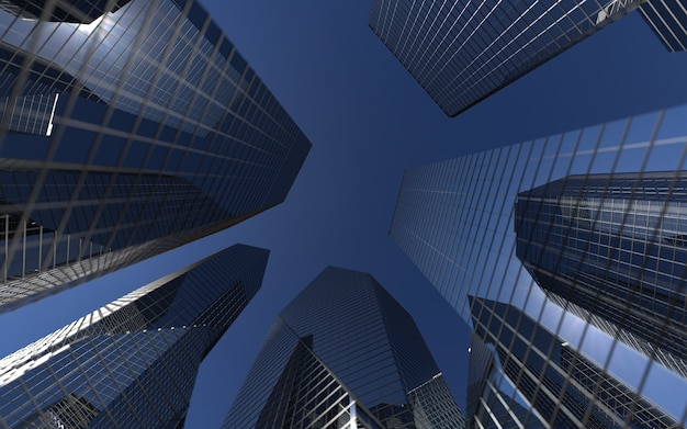 Nowoczesne wieżowce na tle nieba temat sukcesu biznesowego i technologii