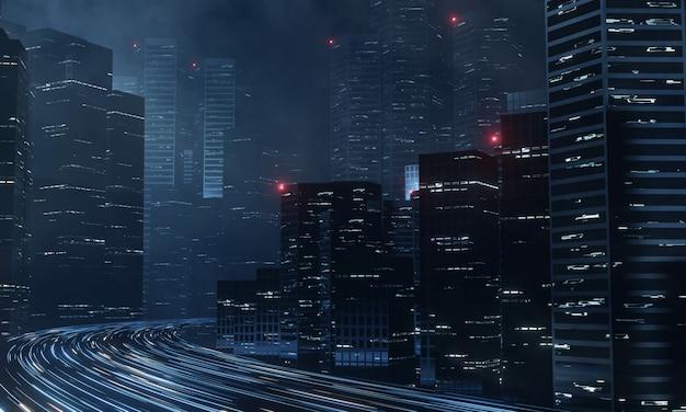 Nowoczesne wieżowce w nocy i sygnalizacja świetlna z autostrady