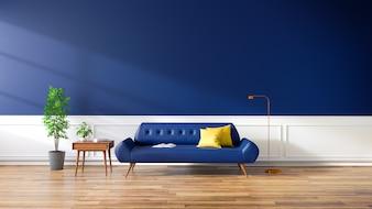 Nowoczesne wnętrze salonu, niebieska sofa na podłogi z drewna i ciemnoniebieskie ściany. , 3d rendering