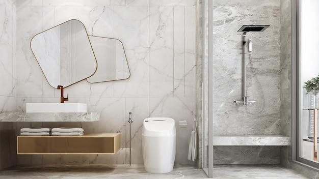 Nowoczesne wnętrza łazienki i białej toalety oraz umywalki i marmuru renderowania 3d