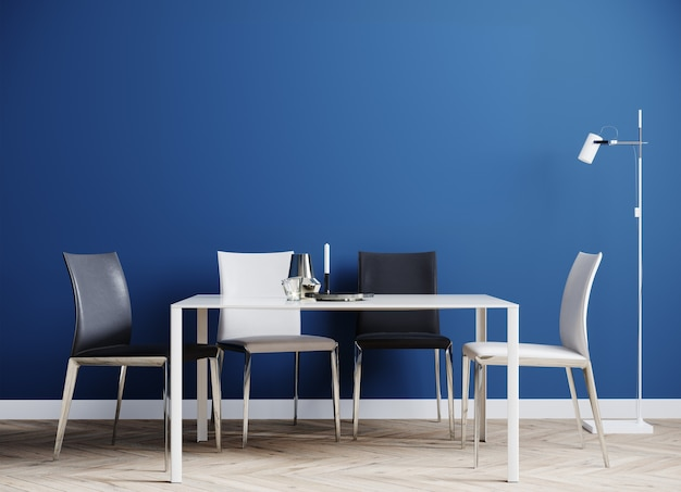 Nowoczesne wnętrza pokoju ze stołem i krzesłami renderowania 3d
