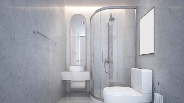 Nowoczesne wnętrza z piękną toaletą i prysznicem oraz marmurową ścianą w tle