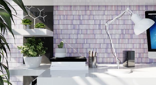 Nowoczesne wnętrze biura domowego z fioletową mozaiką na ścianie. renderowanie 3d