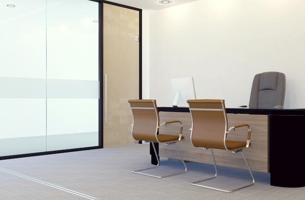 Nowoczesne wnętrze biura menedżera, renderowanie 3d