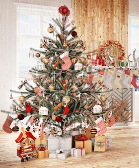 Nowoczesne wnętrze domu z choinką i dekoracją świąteczną