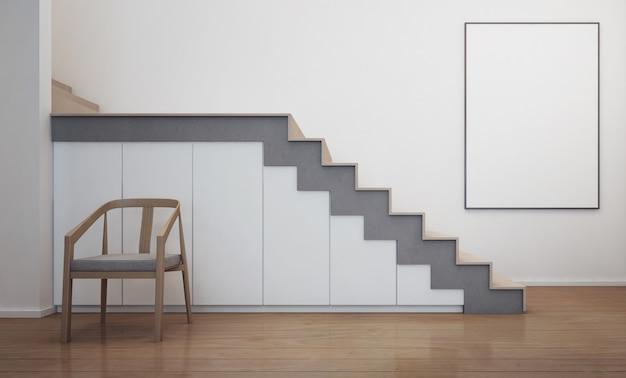 Nowoczesne wnętrze domu ze schodami i białą ramą do zdjęć.