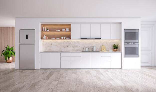 Nowoczesne wnętrze kuchni białego pokoju .3drender