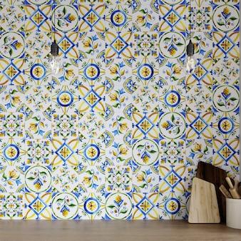Nowoczesne wnętrze kuchni z backsplash ceramiczną mozaiką