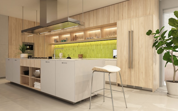 Nowoczesne wnętrze kuchni z drewnianą fasadą w ecostyle. renderowanie 3d