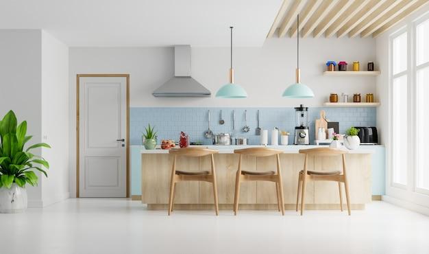 Nowoczesne Wnętrze Kuchni Z Meblami. Stylowe Wnętrze Kuchni Z Białą ścianą. Renderowanie 3d Premium Zdjęcia