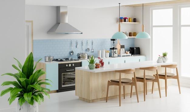 Nowoczesne wnętrze kuchni z meblami. stylowe wnętrze kuchni z białą ścianą.