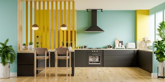 Nowoczesne wnętrze kuchni z meblami. stylowe wnętrze kuchni z zieloną ścianą.