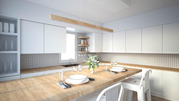 Nowoczesne wnętrze kuchni z meblami.