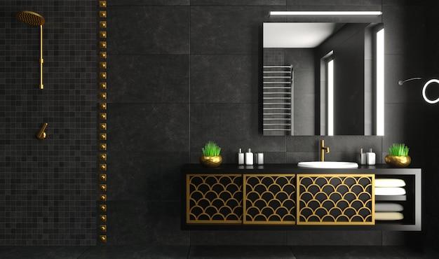 Nowoczesne wnętrze łazienki czarno-złota komoda