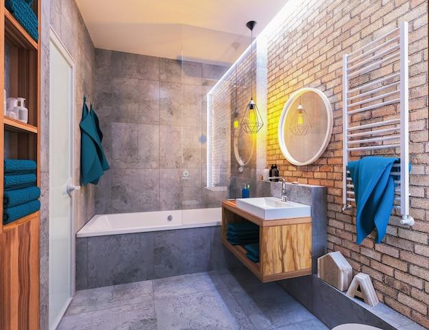 Nowoczesne wnętrze łazienki na poddaszu