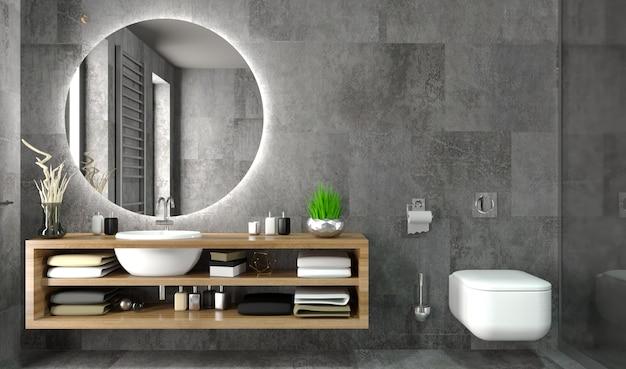 Nowoczesne wnętrze łazienki w komodzie w stylu loftu