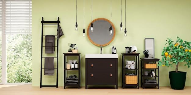Nowoczesne wnętrze łazienki z drewnianym wystrojem w stylu eko
