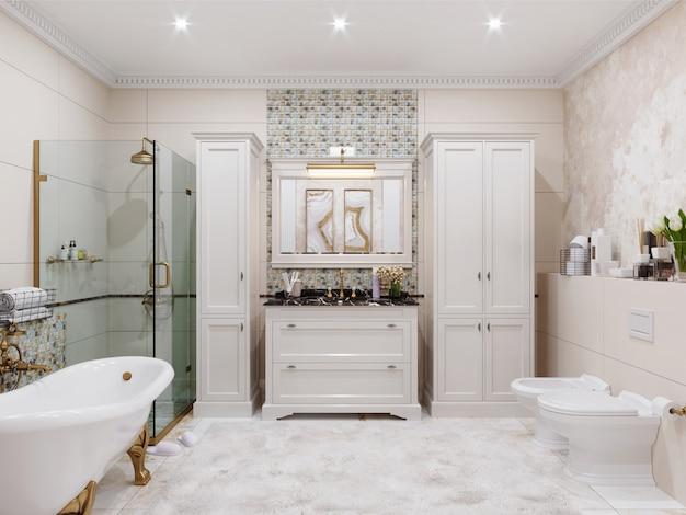Nowoczesne wnętrze łazienki z kafelkami na ścianach i podłodze