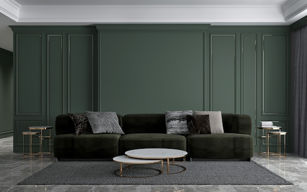 Nowoczesne wnętrze luksusowego salonu i zielony wzór tekstury ściany tło, renderowanie 3d