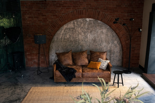 Nowoczesne wnętrze pokoju lub salonu.