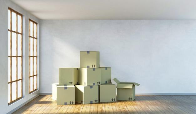 Nowoczesne wnętrze pokoju z dużymi oknami i stosem pudeł kartonowych