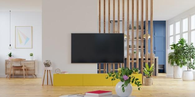 Nowoczesne wnętrze pokoju z meblami, sala telewizyjna, pokój biurowy, jadalnia, kuchnia