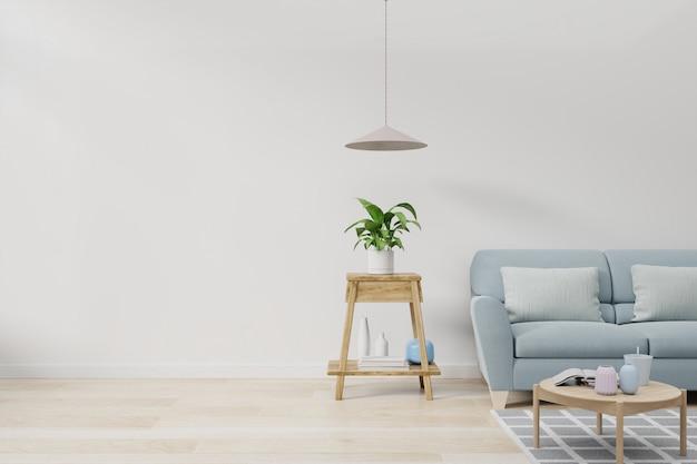 Nowoczesne wnętrze pokoju z roślinami i sofą w drewnianym stole.