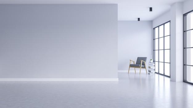 Nowoczesne wnętrze pustego salonu, biała ściana i betonowa podłoga z czarnym okienkiem
