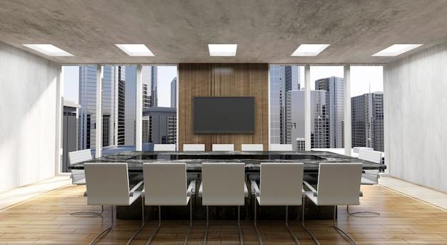 Nowoczesne Wnętrze Sali Konferencyjnej 3d Z Dużymi Oknami Premium Zdjęcia