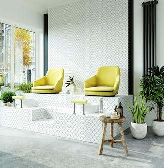 Nowoczesne wnętrze salonu piękności z białymi kafelkami na ścianach i podłodze, żółte krzesła do manicure