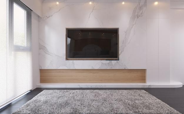 Nowoczesne wnętrze salonu, spójrz na ekran telewizora.