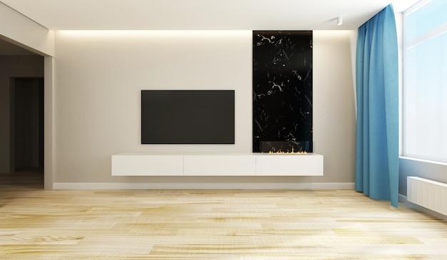 Nowoczesne wnętrze salonu w jasnych kolorach z telewizorem i dużymi oknami