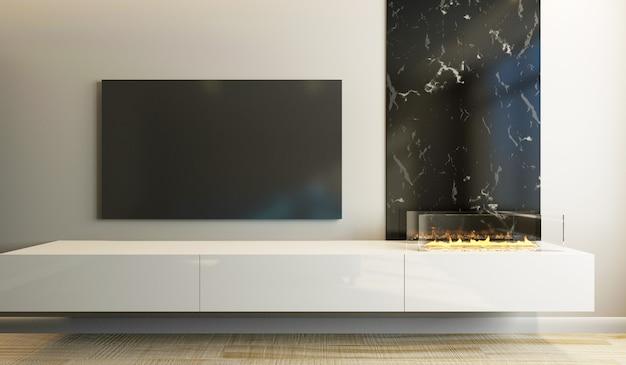 Nowoczesne wnętrze salonu w jasnych kolorach z telewizorem i kominkiem