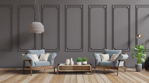 Nowoczesne wnętrze salonu w stylu vintage, pastelowe wnętrze w klasycznym stylu z miękkim fotelem i ciemnobrązową ścianą.