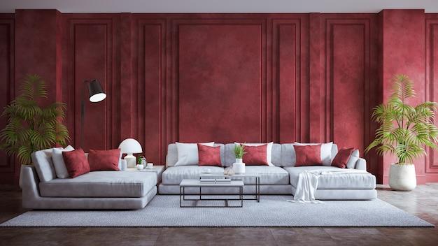 Nowoczesne wnętrze salonu w stylu vintage, szara sofa z czerwoną ścianą grunge i betonową podłogą
