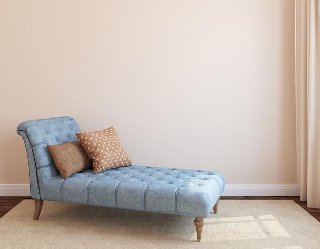 Nowoczesne wnętrze salonu z białą kanapą w pobliżu pustej beżowej ściany