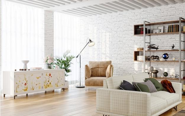 Nowoczesne wnętrze salonu z ceglanymi ścianami renderowania 3d