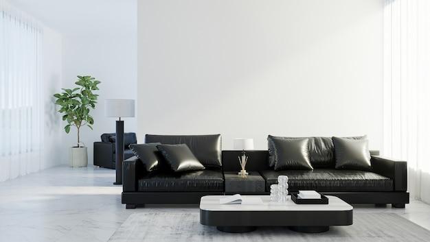 Nowoczesne wnętrze salonu z czarną skórzaną sofą, makieta biała pusta ściana, skandynawski styl, renderowanie 3d