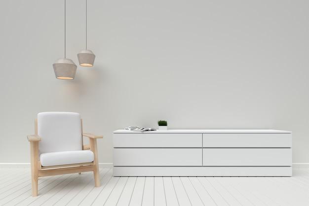 Nowoczesne wnętrze salonu z drewnianą szafką i sofą, renderowania 3d