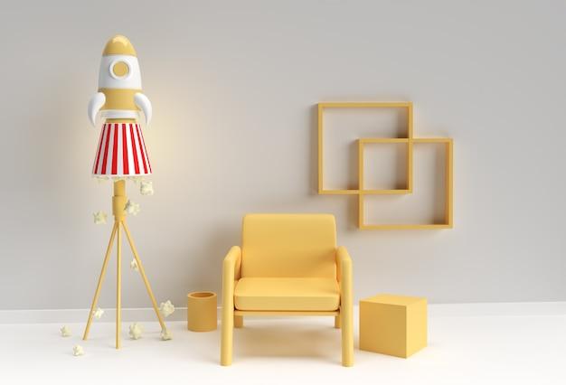 Nowoczesne wnętrze salonu z krzesłem z renderowaniem rakiety kosmicznej 3d