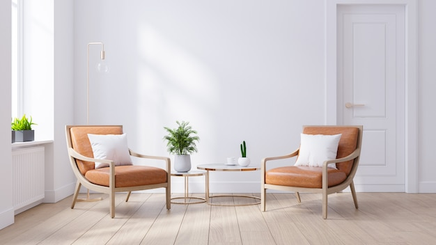 Nowoczesne wnętrze salonu z połowy wieku, skórzane fotele drewniane szafki na białej ścianie i drewnianej podłodze, renderowanie 3d