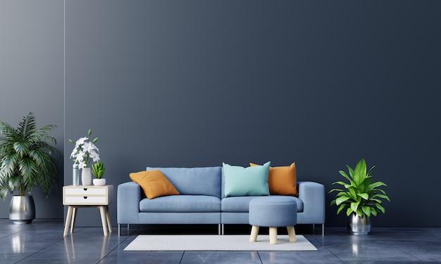Nowoczesne wnętrze salonu z sofą i zielone rośliny, lampa, stół na tle ciemnej ściany.