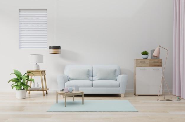 Nowoczesne wnętrze salonu z sofą i zielonymi roślinami, lampa, stół na białej ścianie