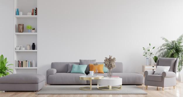 Nowoczesne wnętrze salonu z sofą i zielonymi roślinami, lampą, stołem na białej ścianie.