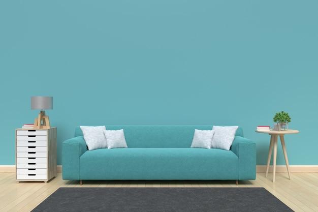 Nowoczesne wnętrze salonu z sofą na podłogi z drewna i niebieską ścianą