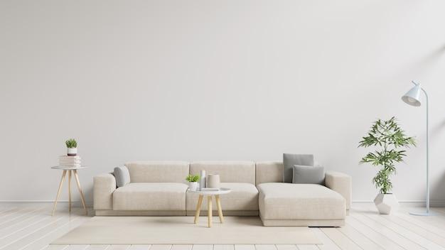 Nowoczesne wnętrze salonu z sofą.