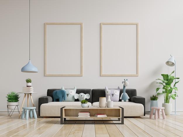 Nowoczesne wnętrze salonu z sofą