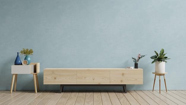 Nowoczesne wnętrze salonu z szafką na telewizor na niebieskim tle ściany, renderowanie 3d